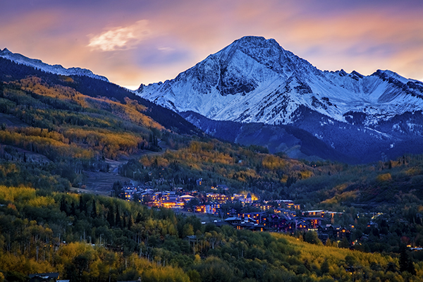 Fall Sunset over snowmass village with Mt Daly backdrop